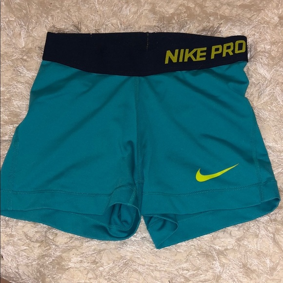 Nike Pants - nike pro turquoise spandex with chartreuse logo